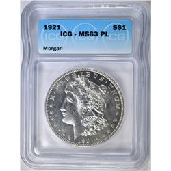 1921 MORGAN DOLLAR  ICG MS-63 PL