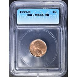 1929-D LINCOLN CENT  ICG MS-64 RD