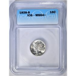 1928-S MERCURY DIME  ICG MS-64+