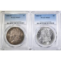 1883-O & 1885-O PCGS MS-63 MORGAN DOLLARS