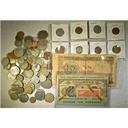 MIXED FOREIGN COINS & CURRENCY