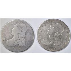 1833 VG & 1834 F BUST HALF DOLLARS