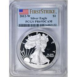 2012-W AMERICAN SILVER EAGLE  PCGS PR-69 DCAM