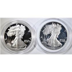 1986-S & 1991-S PROOF AMERICAN SILVER EAGLES