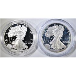 2 1999-P PROOF AMERICAN SILVER EAGLES