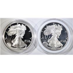 1995-P & 2003-W PROOF AMERICAN SILVER EAGLES