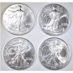 LOT OF 4 2001 AMERICAN SILVER EAGLES