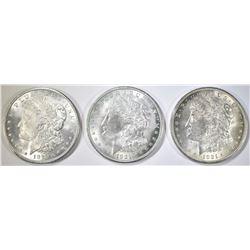 3 - 1921 MORGAN DOLLARS  AU/UNC