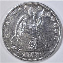 1853-O ARROWS & RAYS SEATED LIBERTY HALF DOLLAR AU