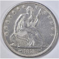 1873 ARROWS SEATED LIBERTY HALF DOLLAR CH AU