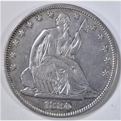 1880 SEATED LIBERTY HALF DOLLAR AU