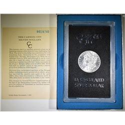 1884-CC MORGAN DOLLAR GSA BOX AND CERT