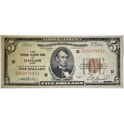1929 $5 NATIONAL CURRENCY FRB OF CLEVELAND
