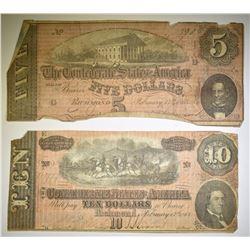 1864 CONFEDERATE $5 & $10 NOTES  LOW GRADE