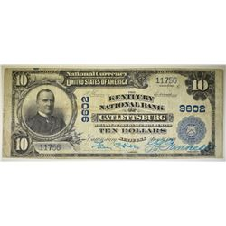 1902 $10 NATIONAL CURRENCY CATLETTSBURG KY. VF