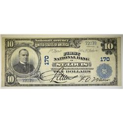 1902 $10 NATIONAL CURRENCY  ST. LOUIS MO. F/VF