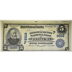 1902 $5 NATIONAL CURRENCY PETALUMA CA. AU RARE!!