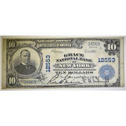 1902 $10 NATIONAL CURRENCY  GRACE N.Y. #12553 VF
