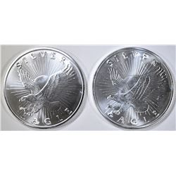 2-SUNSHINE MINT ONE OUNCE SILVER ROUNDS