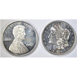 2-DIFFERENT ONE OUNCE SILVER ROUNDS