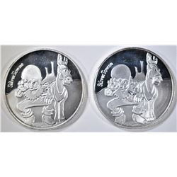 2-SILVERTOWNE PROSPECTOR ONE OUNCE SILVER ROUNDS