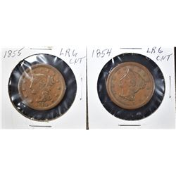 1854 XF & 1855 F LARGE CENTS