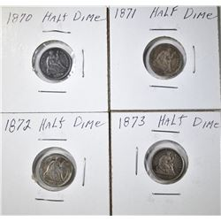 LOT OF 4 SEATED HALF DIMES: