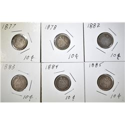 LOT OF 6 SEATED DIMES: