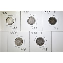 LOT OF 5 SEATED DIMES: