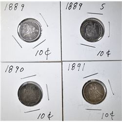 LOT OF 4 SEATED DIMES: