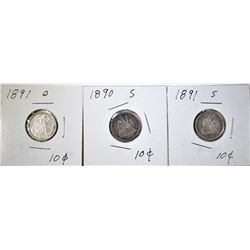 LOT OF 3 SEATED DIMES: