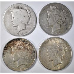 4- CIRC PEACE DOLLARS: 1922-P, D, & S AND 1934