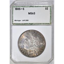 1885-S MORGAN DOLLAR, HCGS CH BU