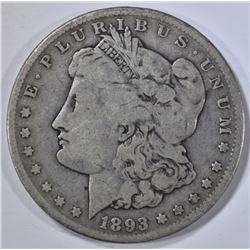 1893-CC MORGAN DOLLAR, VG