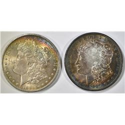 1884-O & 1887 MORGAN DOLLARS, AU BOTH TONED