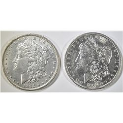 1889-O & 1892 MORGAN DOLLARS, XF