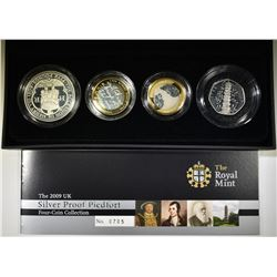 2009 UK SILVER PROOF PIEDFORT 4-COIN COLLECTION