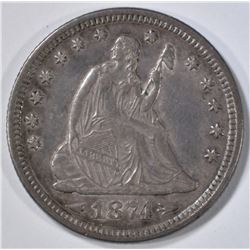 1874 ARROWS SEATED LIBERTY QUARTER CH AU