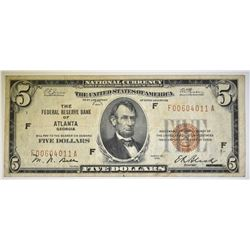 1929 $5 FEDERAL RESERVE BANK OF ATLANTA