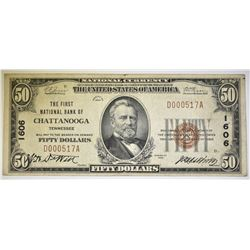 1929 $50 FIRST NATIONAL BANK OF CHATTANOOGA