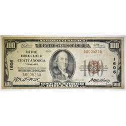 1929 $100 FIRST NATIONAL BANK OF CHATTANOOGA
