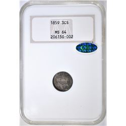 1859 3 CENT SILVER NGC MS-64 CAC