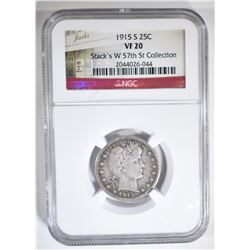 1915-S BARBER QUARTER NGC VF-20