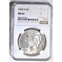 1934-D PEACE DOLLAR NGC MS-62