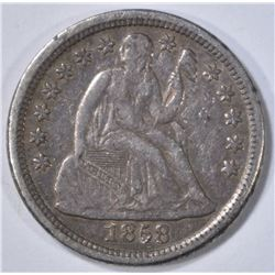 1858-O SEATED DIME, XF