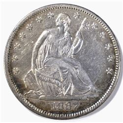 1867 SEATED LIBERTY HALF DOLLAR AU/BU