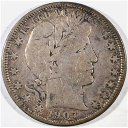 1907-O BARBER HALF DOLLAR, VF
