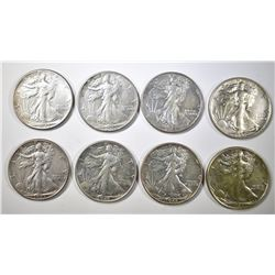8-AU 1943 WALKING LIBERTY HALF DOLLARS