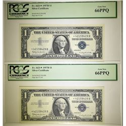 2 1957-B $1 SILVER CERT STAR NOTES PCGS 66 PPQ