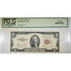 1953C $2 LEGAL TENDER STAR NOTE PCGS 66 PPQ
